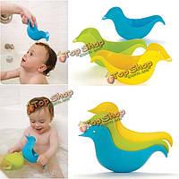3шт детей младенца штабелирования утки ванны для душа игрушка ложка плавающей плавание чашка ополаскивания