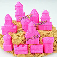 10шт комплект Mini дети ребенок малыш крытый игрушки пляж приморский модель замок глины перемещения волшебного песка подарок
