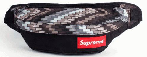 Оригинальная спортивная сумка на пояс Supreme 123, черный с орнаментом