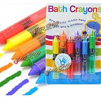 6шт красочные ребенка ванны ребенка мелки игрушки моющиеся живопись рисунок каракули кисти безопасность воск перо