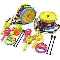 5шт Unisex Мальчики Девочки барабан музыкальных инструментов ролл наборы детский рок-колокольчик молоток групп
