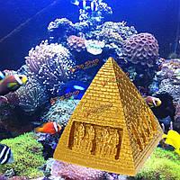 Золотистый любимчика аквариума украшения из синтетической смолы орнамент декора аквариума египта пирамиды аксессуары