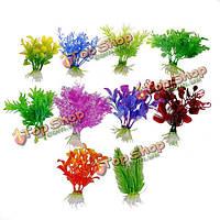 10 X пластичный искусственный аквариум орнамент растения оформление аквариума