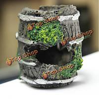 Аквариум миниатюрный бочонок смолы орнамент аквариум пещера озеленение