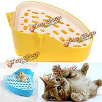 Домашняя кошка двойной туалетный поднос лотка слоя для морской свинки кошки