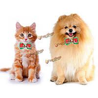 Регулируемые рождества кота собаки любимчика Bowtie галстук Рождественская елка животное воротник украшение, фото 1