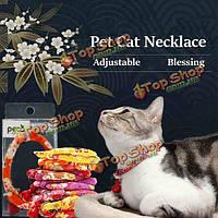 Ручная работа домашнее животное кошка ожерелье воротник жаккардовые набойки воротник с лотерейный мешок, фото 1