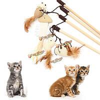 Домашняя кошка котенок игрушки тизер палочка мыши шар перо игра игрушка
