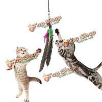 Любимая кошка игрушка-дразнилка перо пластиковая палочка дразнилки игрушка с колокольчиком для кошки играть весело