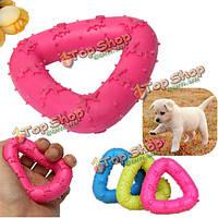 Щенка собаки любимчика резиновый треугольник стоматологическая чистка зубов жевать игрушки играть