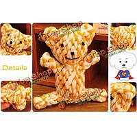 Погладить игрушку мило плетеный медведь жевать узел игрушки собака животное щенок сильный хлопок веревки играть милый прекрасный funteeth, фото 1