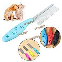 Нержавеющая сталь домашнее животное гребень собаки кота триммер холить расческа грабли выпадение волос блошиные инструменты, фото 1