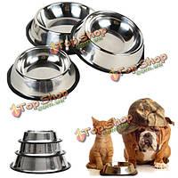 Нержавеющая сталь Pet собаки кошки корм для щенков воды одной миски подавая блюдо проезд