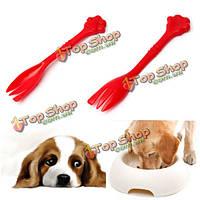 Собака кошка кормление может вилки еды олова смешивания ложка красного 7.48inch