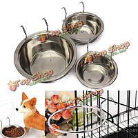 Нержавеющая сталь вешает чашку крюка клетки воды корма для собак кошки птицу домашнего кролика миски собаки