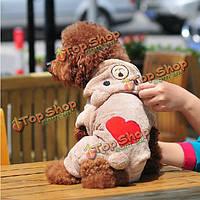 Красное сердце Комбинезон Медведь Теплый Собака толстовка с капюшоном