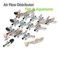 Нержавеющей стали аквариумных рыб дистрибьютор бак воздушный поток 1-4 способы рычаг управления клапаном