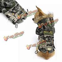 Зимняя кошка собака одежда камуфляж пальто собаки любимчика мягкий хлопок одежда