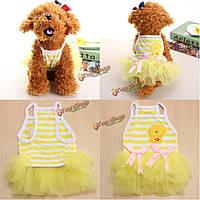 Кошка одежды собаки платья принцессы полосатые собаки платье любимчика щенка одежды кота Пачка юбки Bowknot одежды