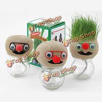 Мини DIY магия травянистое растение горшок голова куклы Обои для рабочего офисного горшках