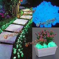 100шт искусственный светящиеся камни галька сад путь горшок декор пейзаж серебристых камень