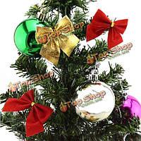 12шт Рождественская елка украшения красного золото стекаются Bowknots