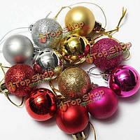 24шт Рождество дерево украшения рождественские блестящие шары орнамент