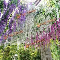 Шелковые цветы глицинии лозы домашнего декора сада гирлянды искусственные растения