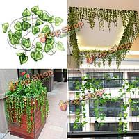 2.3м искусственного плюща сердце форма зеленые листья гирлянды украшения сада домой
