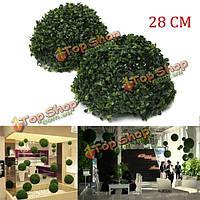 28см пластик искусственная трава подстриженными мяч лист эффект мяч свадьба сад висит украшения