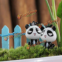 Поделки миниатюрная симпатичная панда украшения горшечных растений садовый декор