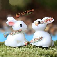 Миниатюрная смола милый белый мох кролика микро пейзажный сад сделай сам художественное оформление