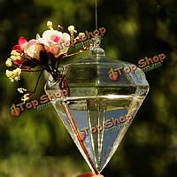 Ромбовидной формы висят стеклянные вазы цветочных растений гидропонного контейнера