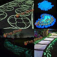 50шт сада путь праздника декор серебристых светящихся искусственных камней галька
