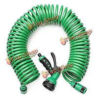 15м Ева спиральная спиральная труба растягивать садовый шланг с соплом