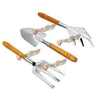 3шт из нержавеющей стали лопаты грабли вилка деревянная ручка наборы садовый инструмент посадки