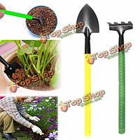 2шт Mini Портативный металл лопата грабли ручной набор инструментов Садоводство пластиковая ручка посадочные инструменты