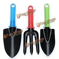 3шт железной лопатой голову лопатой вилка посадки инструмент сада красочная пластиковая ручка прополка набор инструментов