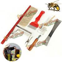 7шт пчелы кисти распечатывания вилка садоводство пчеловодство оборудование инструментарий королева зрелище