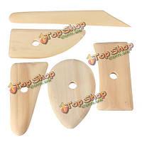 5шт деревянные гончары ребро скелет нож глиняной посуды керамика Ваяющую пластилина Ремесла