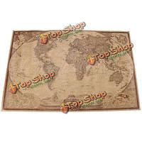 71 * 46.5см коричневый бумажный античный карта мира настенный плакат плакат