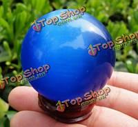 Хрустальный шар синий глаз кошки деревянный основной 40-миллиметровый китайский фэншуй домашние подарки художественного оформления стол
