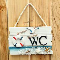 17.5см средиземноморском стиле декора туалет туалет деревянный дверь стена знак висит украшения
