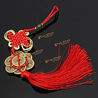 Китайская монета китайский узел повезло богатство красная нить бесконечное счастье процветание домой автомобиль декор
