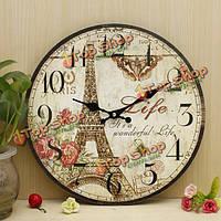 ZAKKA деревенское настенные часы Эйфелева башня старинные потрепанный стены дома офис кафе-бар искусства декор