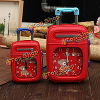 Чемодан будильник багажном отделении пластиковые тележки дело будильник декор подарок красный черный синий