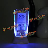 Многофункциональный будильник календарь термометр цифровой ЖК LED голубой подсветкой