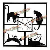 Творческий черные кошки мышь птица немой настенные часы дома магазин подарок часы декоративные висит