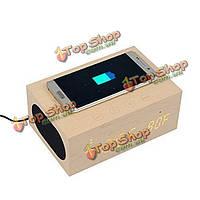 Многофункциональный стерео Bluetooth деревянный динамик часы беспроводной зарядное устройство и LED время отображения