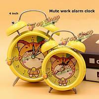 Металл милый студент моды кольцо колокола немой часы европейских ретро с ночник тумбочке часы